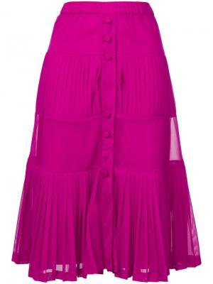 Многоуровневое плиссированное платье Nº21. Цвет: розовый