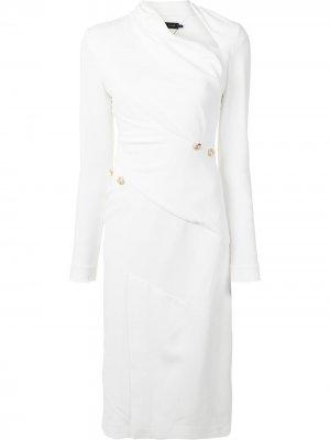 MATTE VISCOSE CREPE LONG SLEEVE DRESS Proenza Schouler. Цвет: белый