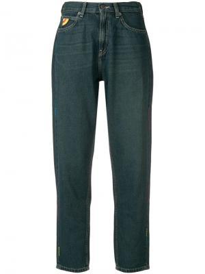 Зауженные джинсы с зигзагообразным декором Mira Mikati. Цвет: зеленый