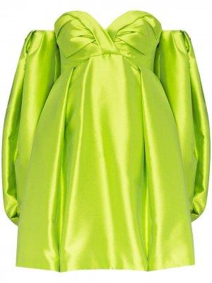 Платье с открытыми плечами и объемными рукавами Carolina Herrera. Цвет: желтый