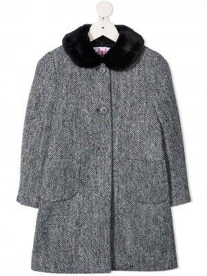 Пальто на пуговицах с узором в елочку Il Gufo. Цвет: синий