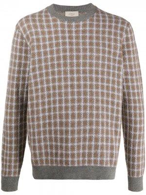Джемпер с длинными рукавами и узором в ломаную клетку Altea. Цвет: серый