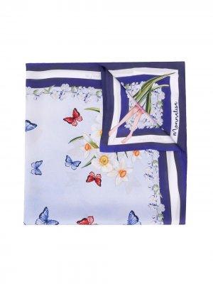 Платок с цветочным принтом Monnalisa. Цвет: синий