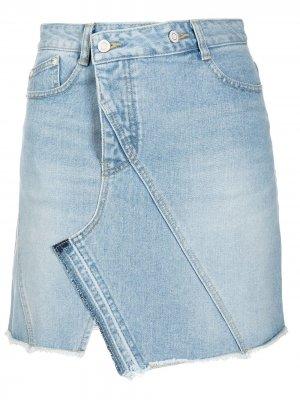 Джинсовая юбка асимметричного кроя SJYP. Цвет: черный