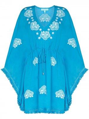 Пляжное платье мини Irene Melissa Odabash. Цвет: синий