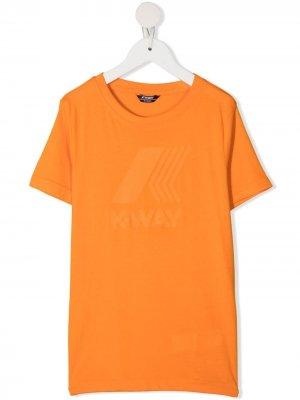 Футболка с логотипом K Way Kids. Цвет: оранжевый