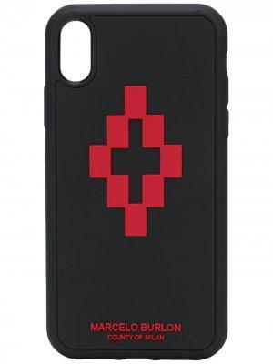 Чехол для iPhone XR с логотипом Marcelo Burlon County of Milan. Цвет: черный