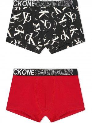 Комплект трусов с логотипом Calvin Klein Kids. Цвет: красный