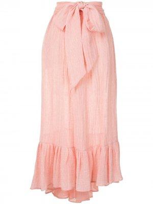 Юбка с завязками и оборками Lisa Marie Fernandez. Цвет: розовый