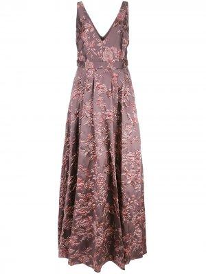 Вечернее платье с цветочным принтом Badgley Mischka. Цвет: фиолетовый