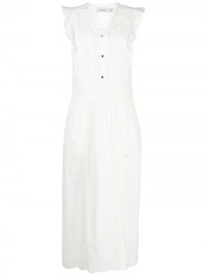 Платье макси с английской вышивкой Coach. Цвет: белый