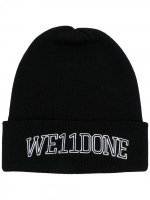 Шапка бини с вышитым логотипом We11done. Цвет: черный