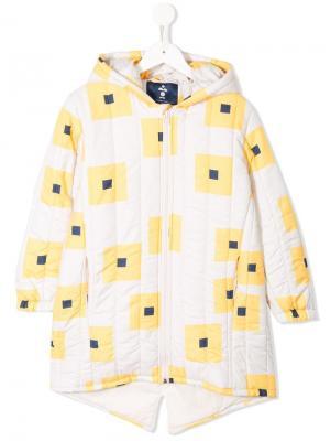 Дутое пальто с геометрическим принтом Bobo Choses. Цвет: желтый