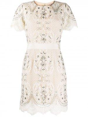 Декорированное кружевное платье Twin-Set. Цвет: нейтральные цвета