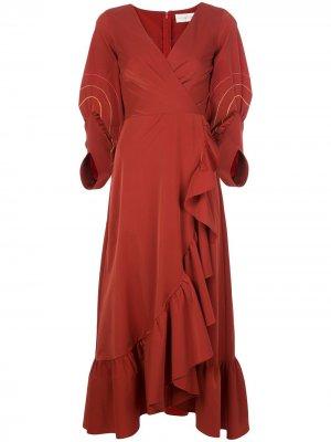 Платье Jane с оборками Sachin & Babi. Цвет: оранжевый