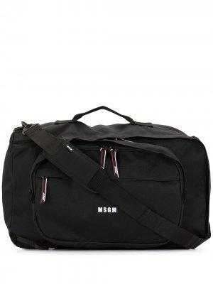 Дорожная сумка с логотипом MSGM. Цвет: черный