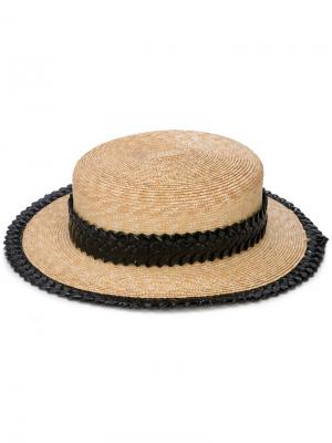 Соломенная шляпа с узкими полями Gigi Burris Millinery. Цвет: коричневый