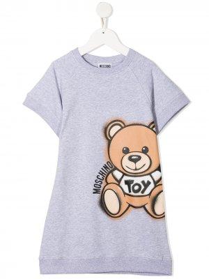 Платье-свитер Toy Bear Moschino Kids. Цвет: серый