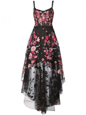 Платье с нашитыми цветами и асимметричным подолом Marchesa Notte. Цвет: черный