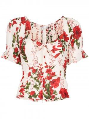 Блузка Delevan с вырезом в форме сердца Reformation. Цвет: белый