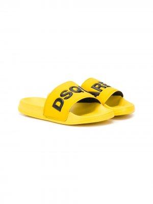 Шлепанцы с логотипом Dsquared2 Kids. Цвет: желтый