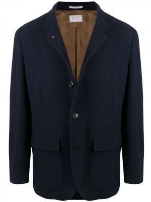Пиджак с контрастной подкладкой Brunello Cucinelli. Цвет: синий