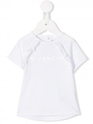 Футболка с оборками и логотипом Givenchy Kids. Цвет: белый