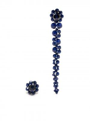 Непарные серьги из бисера Simone Rocha. Цвет: синий