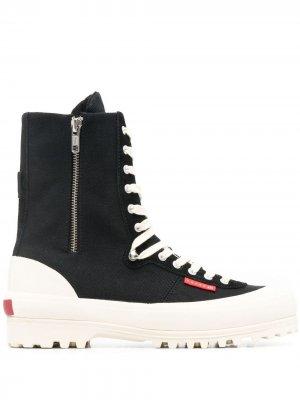 Ботинки на платформе со шнуровкой Superga. Цвет: черный