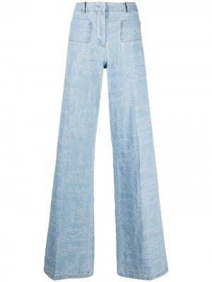 Широкие джинсы с вышитым логотипом Giambattista Valli. Цвет: черный