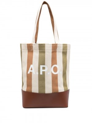 Сумка-тоут в полоску с логотипом A.P.C.. Цвет: нейтральные цвета