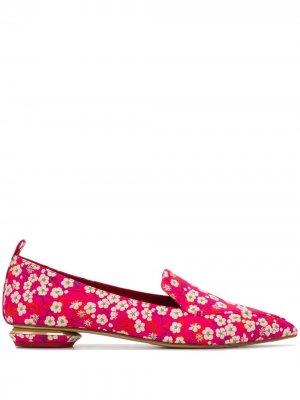 Лоферы Beya с цветочным принтом Nicholas Kirkwood. Цвет: розовый