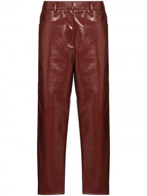 Укороченные лакированные брюки Tibi. Цвет: коричневый