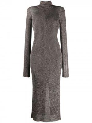 Трикотажное платье с высоким воротником Mugler. Цвет: коричневый