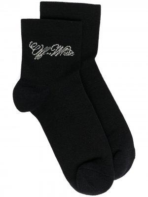 Носки вязки интарсия с логотипом Off-White. Цвет: черный