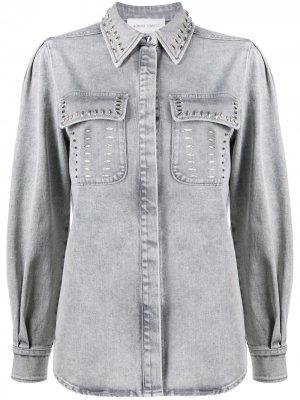 Джинсовая рубашка с заклепками Alberta Ferretti. Цвет: серый