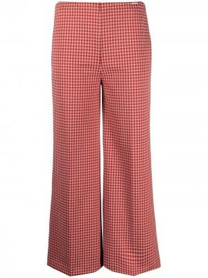 Укороченные брюки в клетку гингем LIU JO. Цвет: красный