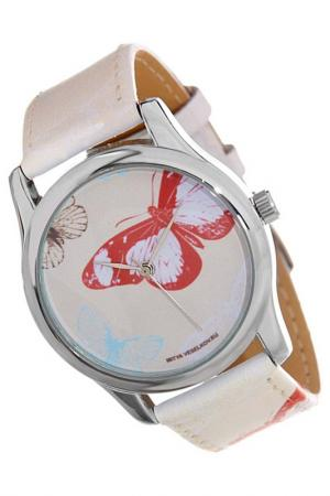 Часы Цветные бабочки MITYA VESELKOV. Цвет: бежевый