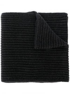 Cashmere rib knit scarf Iris Von Arnim. Цвет: черный