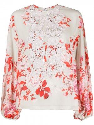 Блузка с цветочным принтом Giambattista Valli. Цвет: серый