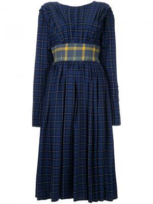 Плиссированное платье миди Natasha Zinko. Цвет: синий