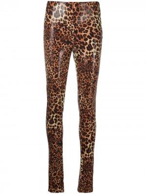 Легинсы с леопардовым принтом STAND STUDIO. Цвет: коричневый