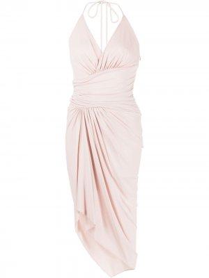 Платье с вырезом халтер и асимметричным подолом Alexandre Vauthier. Цвет: розовый