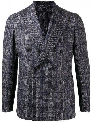 Двубортный пиджак в клетку Tagliatore. Цвет: синий