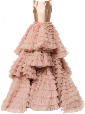 Многослойное вечернее платье Isabel Sanchis. Цвет: нейтральные цвета