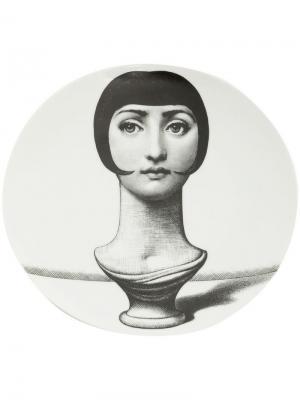 Тарелка с принтом женского бюста Fornasetti. Цвет: черный