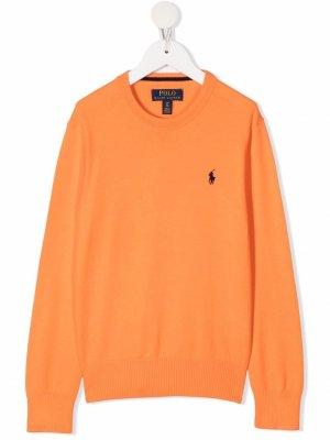 Свитер с вышитым логотипом Ralph Lauren Kids. Цвет: оранжевый