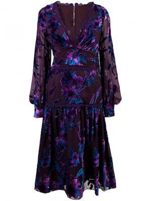 Коктейльное платье с цветочной вышивкой Marchesa Notte. Цвет: синий