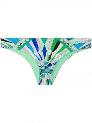 Плавки бикини с абстрактным принтом Emilio Pucci. Цвет: зеленый