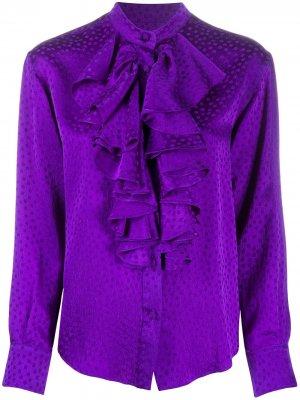 Рубашка в горох с оборками AMI Paris. Цвет: фиолетовый